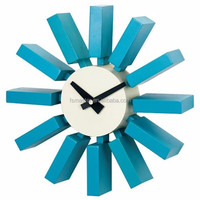 wood modern hanging sky blue block Wall clock