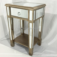 Bedroom furniture unique restoration hardware mirrored night stand with antique wood shelves