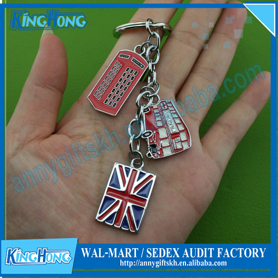 European and American flag metal travel souvenir key chain