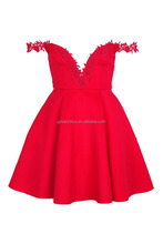 Latest Fashion Aline Dress Red Dress Crochet Trim Prom Dress