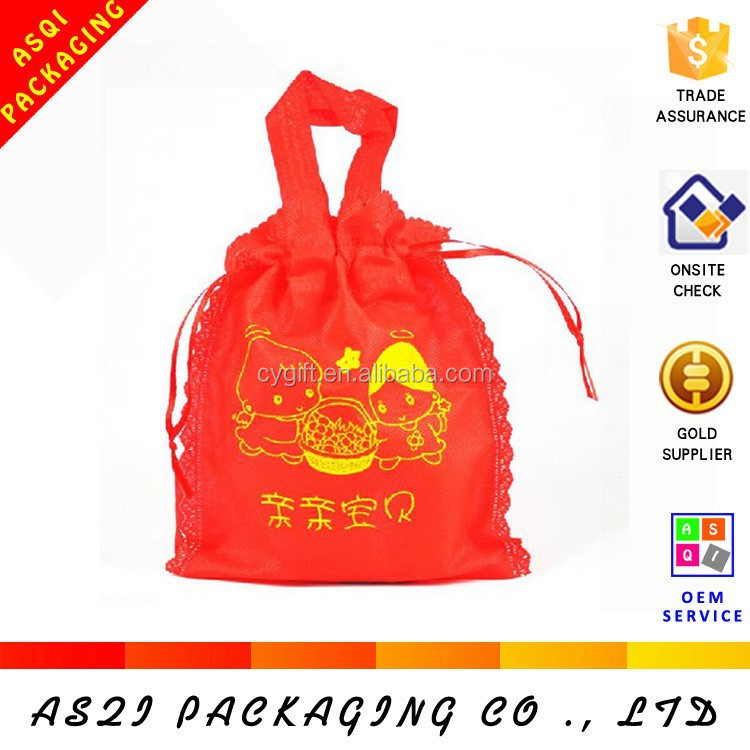 cheerful color red decorative fabric candy bag with drawstring closed