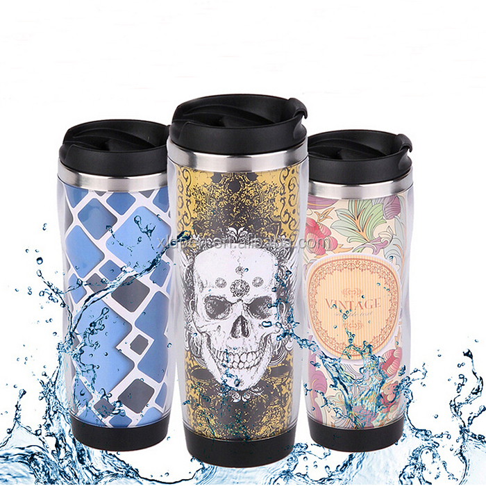 Promotional cheap plastic DIY coffee travel mug with photo insert