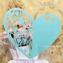 Ideal Products Sky Blue Love Heart Shape Wedding Place Cards for Wine Glass