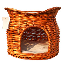 Luxury pet bed pet basket with mat woven pet bed