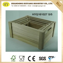 FSC natural unfinished wood crates wholesale