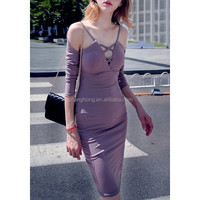 2016 new sexy women winter dress celebrity party prom elegant Long sleeve deep V-neck knee-length red party bandage dress