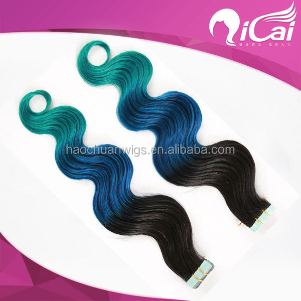 Ombre hair extensions Brazilian Ombre Virgin Hair 1b/ Blue/Green three Tone Ombre Human Hair Extensions