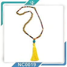 2016 Corlorful Turquoise Wooden Bead Yellow Tassel Necklace