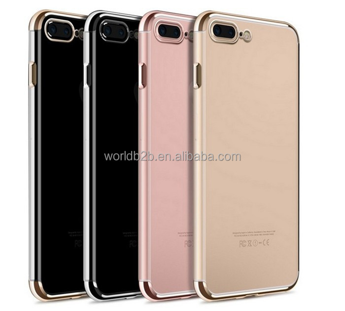 New arrival high transparent chrome edge rose gold transparent case for iphone 7 7 plus