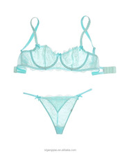 fashion lady lingerie transparent bra and panty women underwear