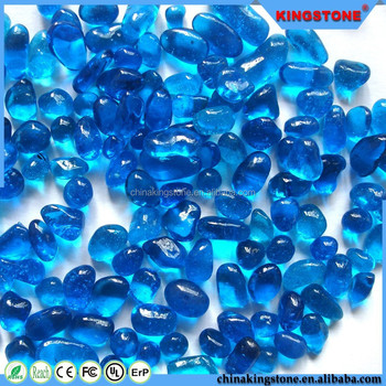 Elegant shape swimming pool use mini blue color building crystal glass bead for aquarium