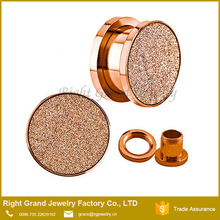 Rose Gold IP Plated Sandpaper Texture Surgical Steel Ear plugs Gauges