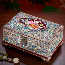 Beautifully Crafted Marquetry Gift Box, Retro Seashell Mosaic Inlay Wooden Storage Box, Lacquer Painting Decorative Jewelry Box