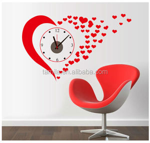 hot selling red heart 2015 New Modern DIY Wall Clock 3D Sticker Design Home Office Room Decor