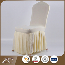 Good quality cheap beautiful white pleated skirt spandex cover chair wedding