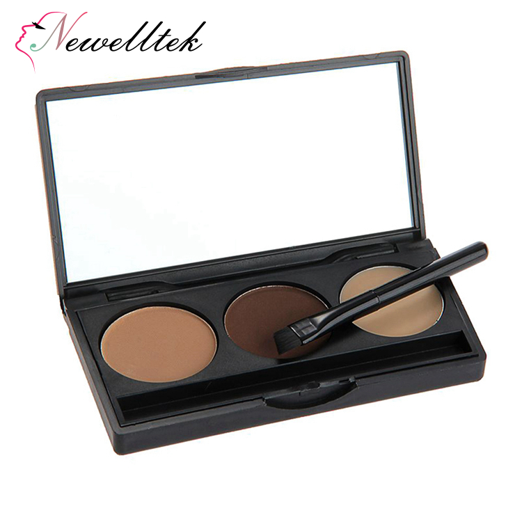 3 color eye brow powder and eyeliner cake kit makeup eyebrow powder palette with eyebrow brush