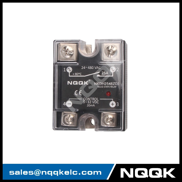DC control AC 25A Single Phase zero cross or random Solid State Relay with LED indicator