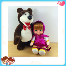 New Design High Quality Cute Masha And The Bear Doll Stuffed Plush Electronic Walking And Speaking Toy
