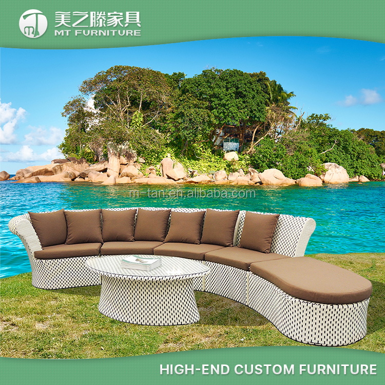Modern special design white wicker outdoor sofa natural rattan garden ridge outdoor furniture