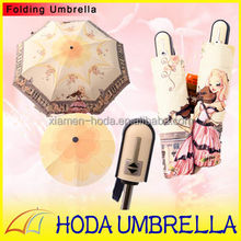 Vienna Royal Violin Girl Princess 3-folding Umbrella Auto open and close/Chrome-coated Frame Gril Sun and Rain Umbrella