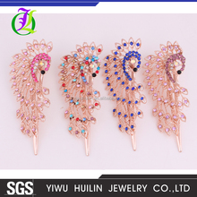 four color Golden Peacock Jewelry Crystal Hair Clips hair accessories For Weddings Christmas