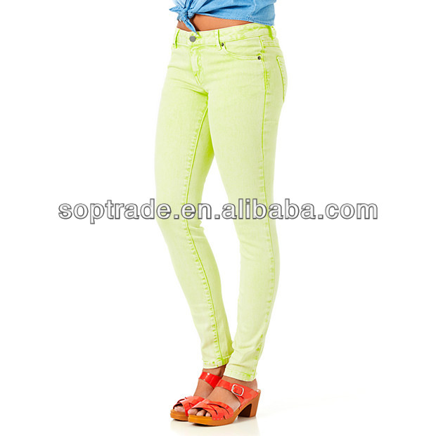 2014 hottest skinny luminary green cheap jeans wholesale china