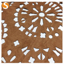 laser cut Faux Fur Suede fabric 100 polyester national pattern