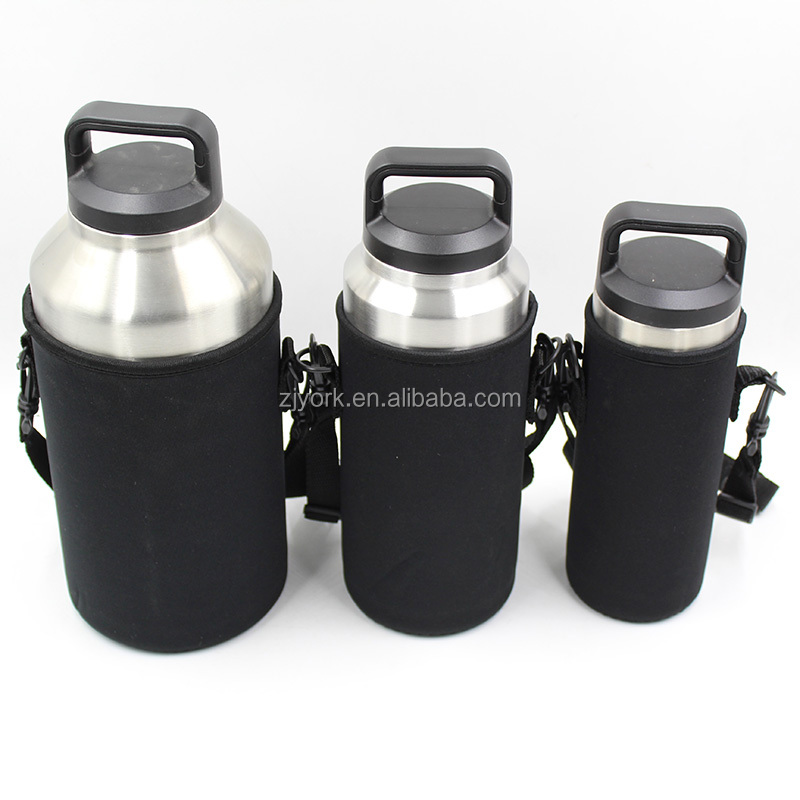 2018 WHOLESALE 18oz 36oz 64oz double wall 18/8 stainless steel vacumm insulated beer growler with easy carrying bag