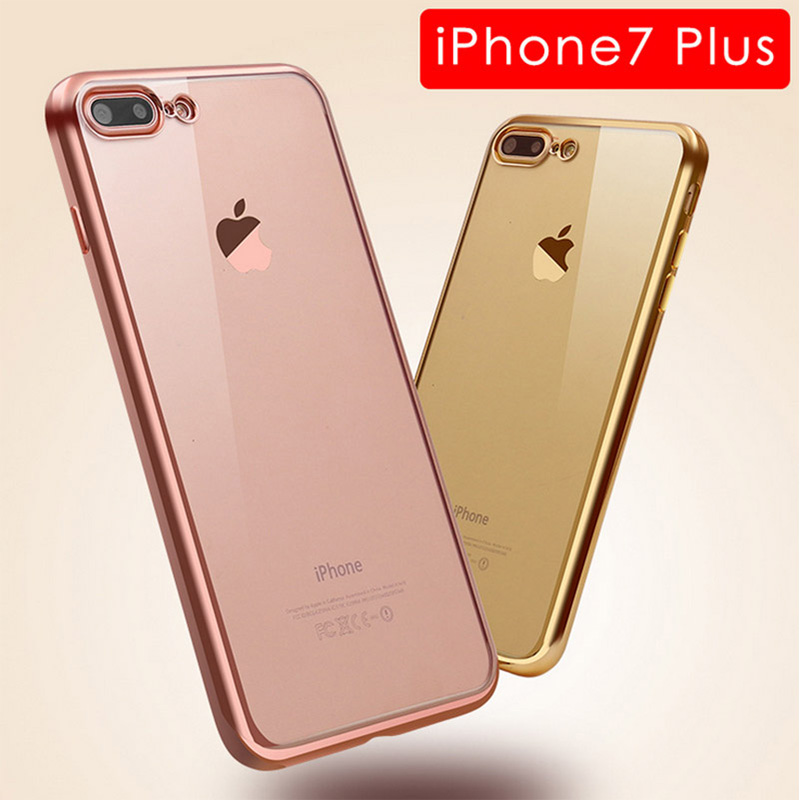 Ultra Thin Clear Plating TPU Soft Case <strong>Cover</strong> For iPhone 7 Plus 5.5 Inch