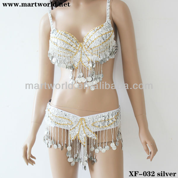 silver dance clothing with crystal beads sequins and coins(XF-032 silver)