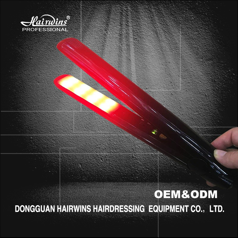 2017 new ionic flat iron electric ultrasonic infrared hair straightener private label hair tools