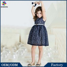 Latest Frock Design Cap Sleeve Children Lace Boutique Clothing Purplish Blue Elegant Party Girls Free Prom Dress