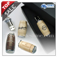 Oak Barrel Wood Craft USB flash drive for Christmas gift , custom engraving logo wood Oak Barrel usb key ring