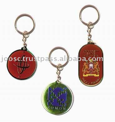24K Brass Etching Soft Enamel Key chain