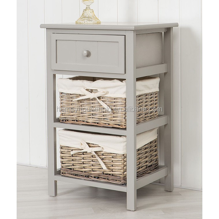 Grey Shabby Chic Style Wooden Baskets Bedside Storage Unit