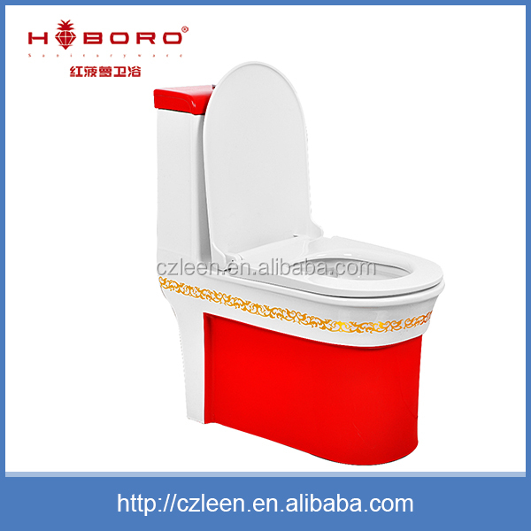 Hot sale jet flush floor mounted wc one piece high-end red toilet