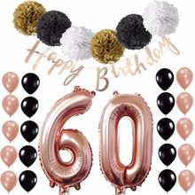 60th Happy Birthday Banner Foil Balloons Pom Pom Flower Ball Rose Gold Theme Party Decoration Sets