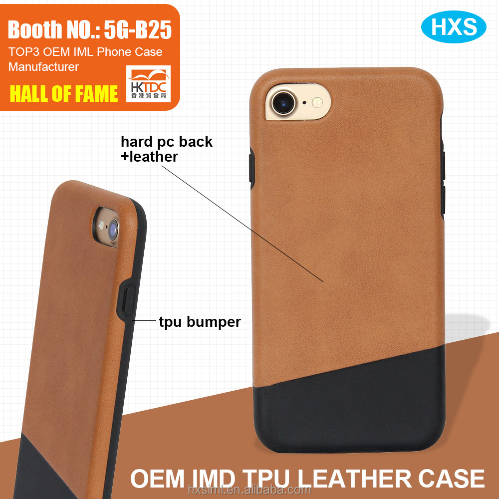 new arrival mobile tpu bumper oem leather phone case for Iphone7