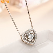 Hot Popular Wholesale inlay shiny crystal fake silver necklace heart with box chain