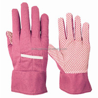 Household pink pvc dotted palm garden gloves