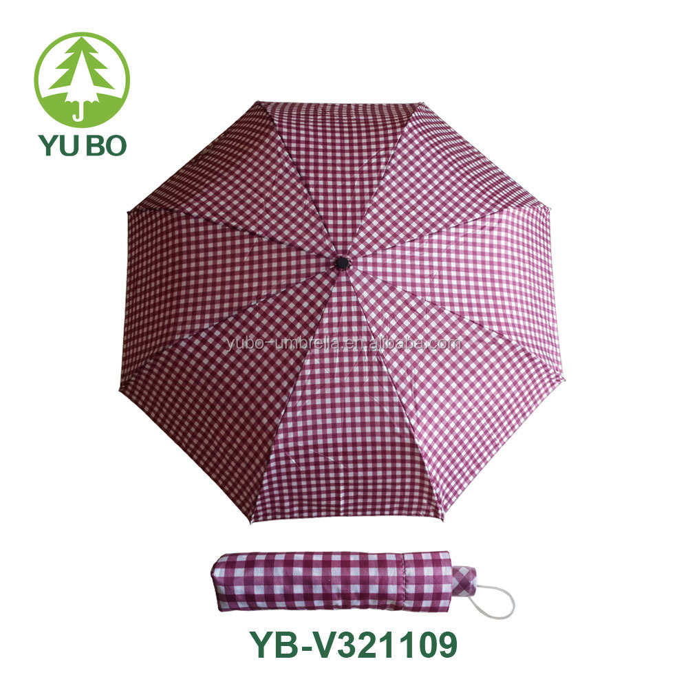 Super light three folding plaid umbrella aluminum shaft