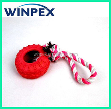 Rubber dog toy, Dog tyre toy with rope , Rubber tires pet toy for dog