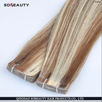 remy tape hair with balliage highlight ombre double drawn balayage hair