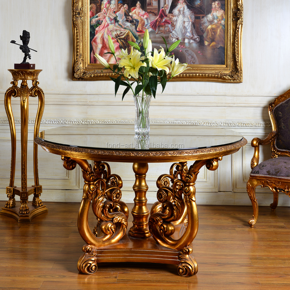 C229 Classic Antique Style Glass Top Round Dining Table Wholesales