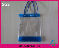 Clear pvc ice bag with handle for wine packing ,pvc bag for cosmetic packing