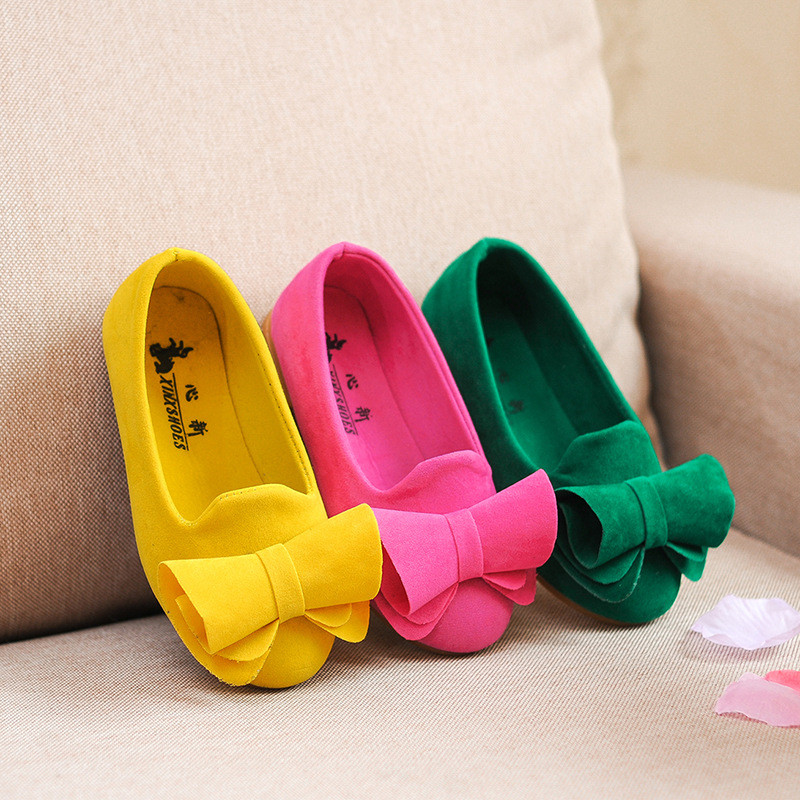 Hot Sale Children Shoes Big Bow Flock Candy Colors Princess Flat Shoes Slip-On Girls <strong>Sandals</strong>