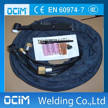 WP18 Argon Welding Torch and Parts with Black Handle