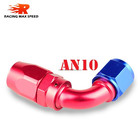 Aluminum oil cooler fitting 90 degree resuable hose end fuel line hose end fitting adaptor cutter shape blue and red 40-090-10