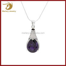Large Sterling Silver 925 Jewelry For Cremation Ashes Amethyst Pendant Necklace