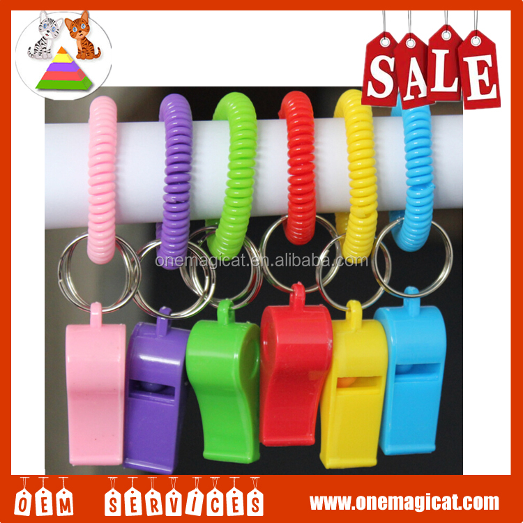 Cheap Logo spring coil whistling key chain clay telephone wire whistle
